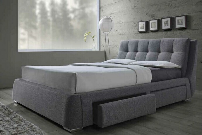 CST300523Q Fenbrook collection contemporary style grey fabric upholstered queen size bed with lower drawers