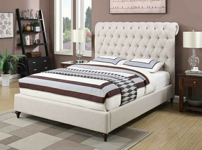 CST300525Q Devon collection beige fabric tufted upholstered contemporary style queen bed