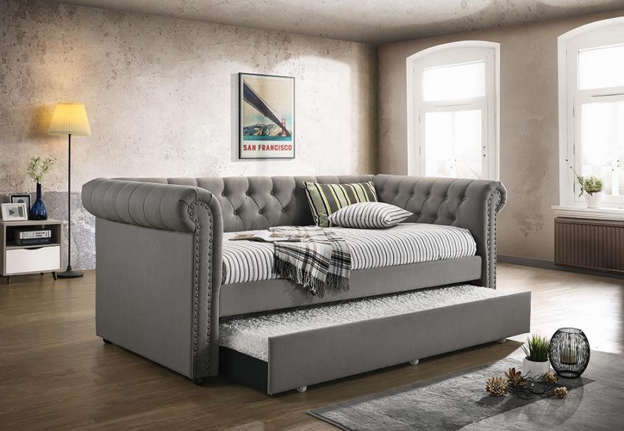 300549 2 pc Canora grey baggs grey tufted fabric back day bed with trundle