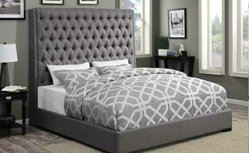 CST300621Q Camille collection grey fabric tufted upholstered contemporary style queen bed