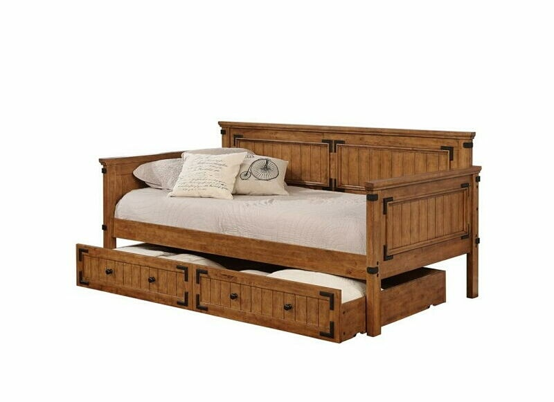 300675 Gray barn spring millwood pines ullrich country living style rustic honey finish wood twin day bed