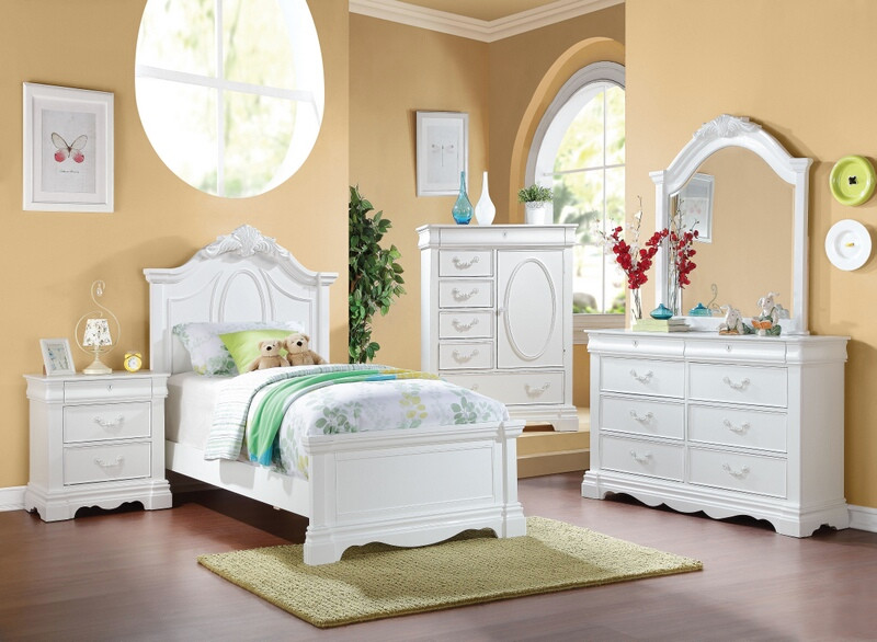 Acme 30240T 4 pc estrella white finish wood twin bedroom set decorative carving
