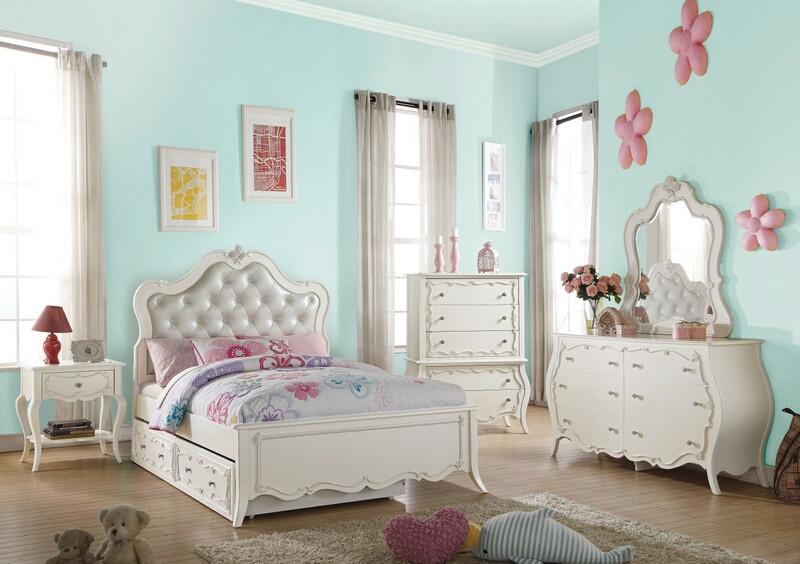Acme 30500F 5 pc Edalene white finish wood faux leather tufted full bedroom set