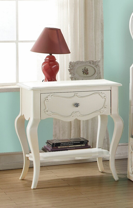 Acme 30509 Wynell pearl white finish wood nightstand with curved legs