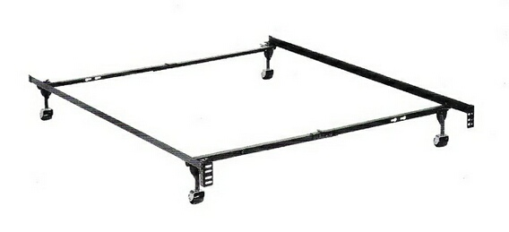 HB-050BL Twin / full size deluxe lev-r-lock bed frame with rug rollers with headboard attachment