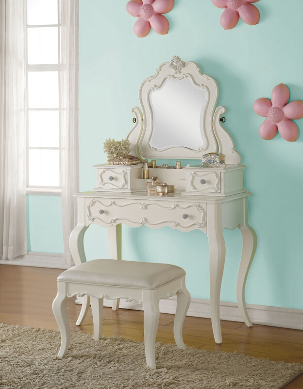 Acme 30516-19 3 pc edalene pearl white finish wood bedroom make up dressing vanity
