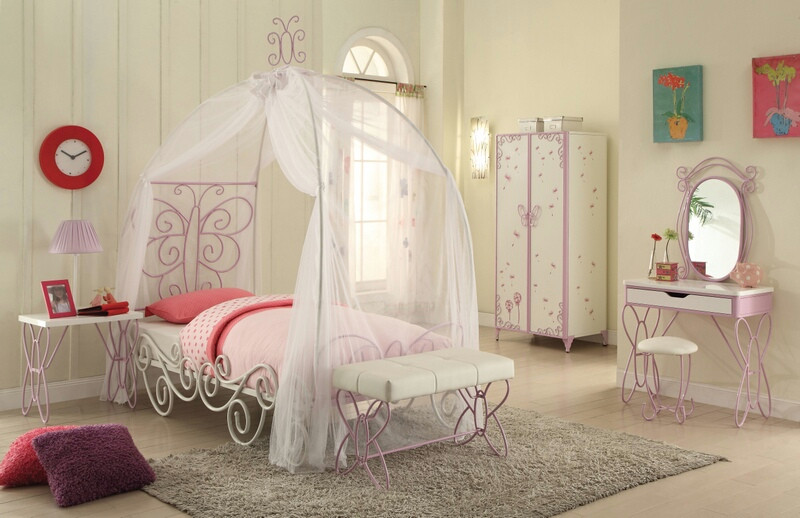 Acme 30530T Priya ii white / light purple finish metal frame canopy bed butterfly shapes twin canopy bed