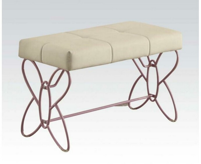 ACM30542 Priya collection butterfly shaped white / light purple finish metal bedroom bench