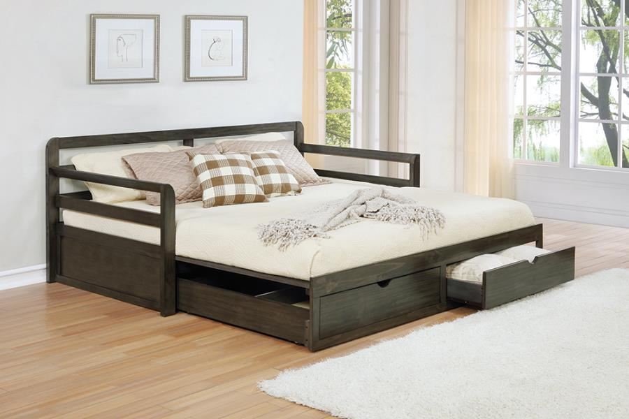 305706 Gray barn morning glory country living style grey finish wood twin day bed extension trundle