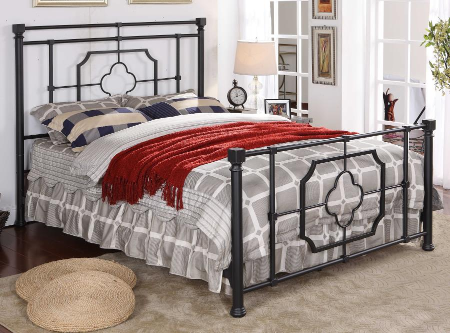 305766Q Stoney creek fairfield matte black finish metal queen bed