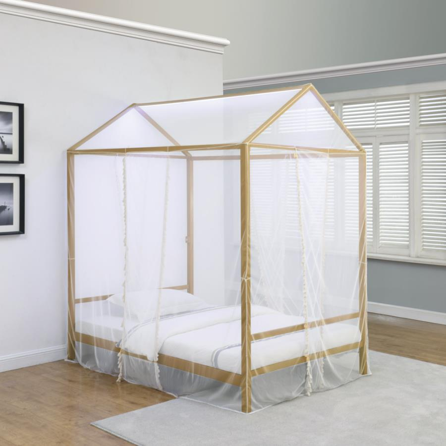 305773F Bungalow rose ashland etta matte gold metal canopy full bed with LED lighting and fabric cover