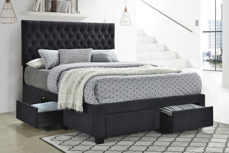 305877F House of hampton soledad grey fabric tufted headboard storage full bed set