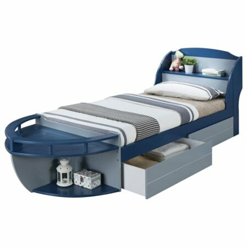 Wooden Twin Size Bed.Acme 30620t Neptune Ii Nautical Boat Design Gray Navy Blue Finish Wood Twin Size Bed