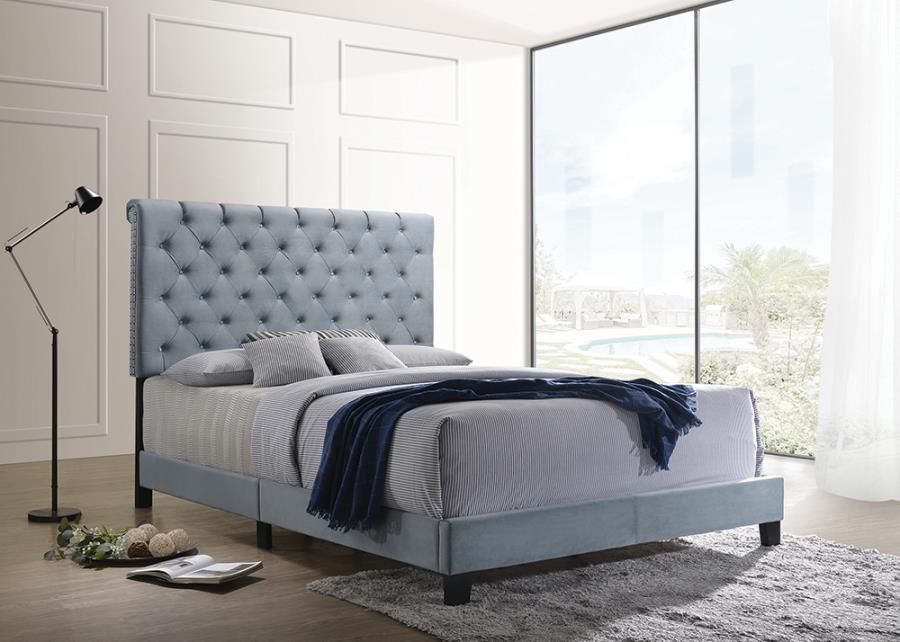 310041Q Mercer 41 velero slate blue velvet fabric button tufted headboard queen bed set