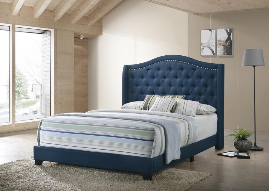 310071Q Mercer 41 littleton blue fabric button tufted headboard queen bed set