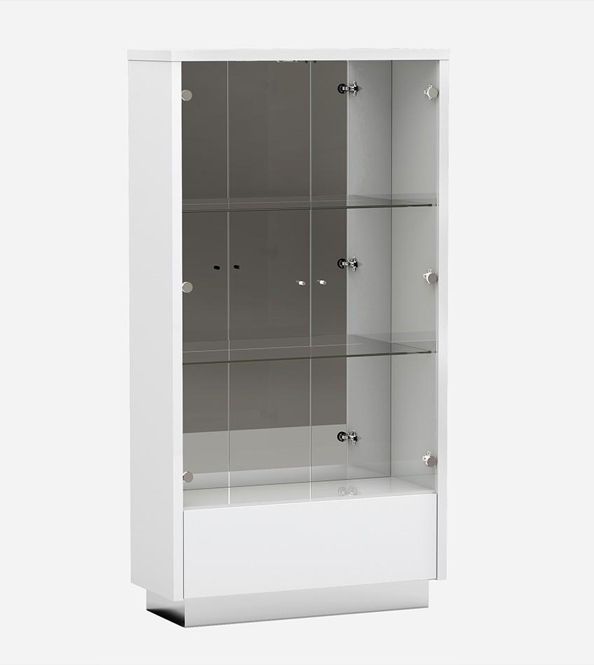 D313-VETRINA Orren ellis desrochers vertina high gloss white finish wood modern style display curio cabinet