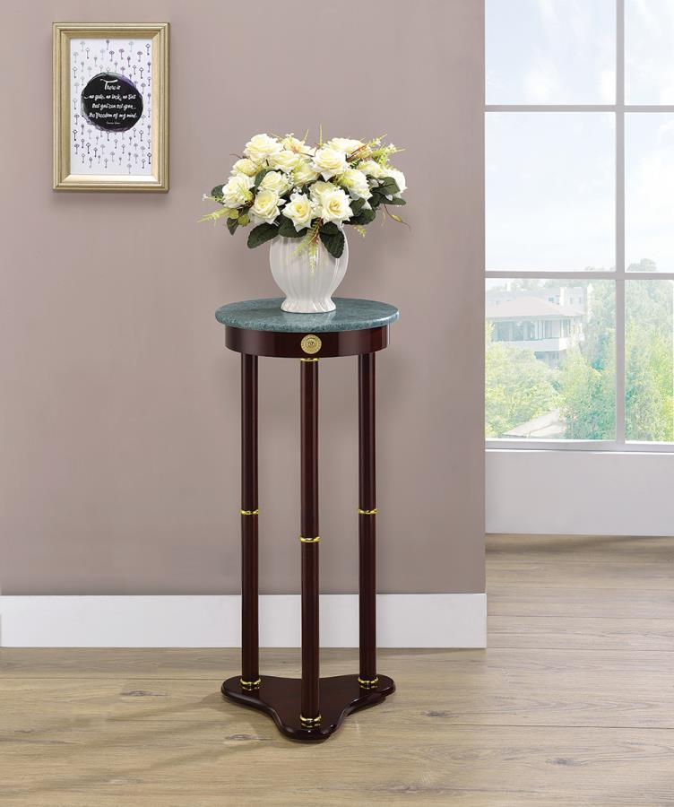 3315 Charlton home shoshoni merlot finish wood green round marble top chair side end table