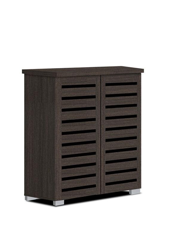 3342-ESP Espresso finish wood wide louvered design front panels shoe cabinet
