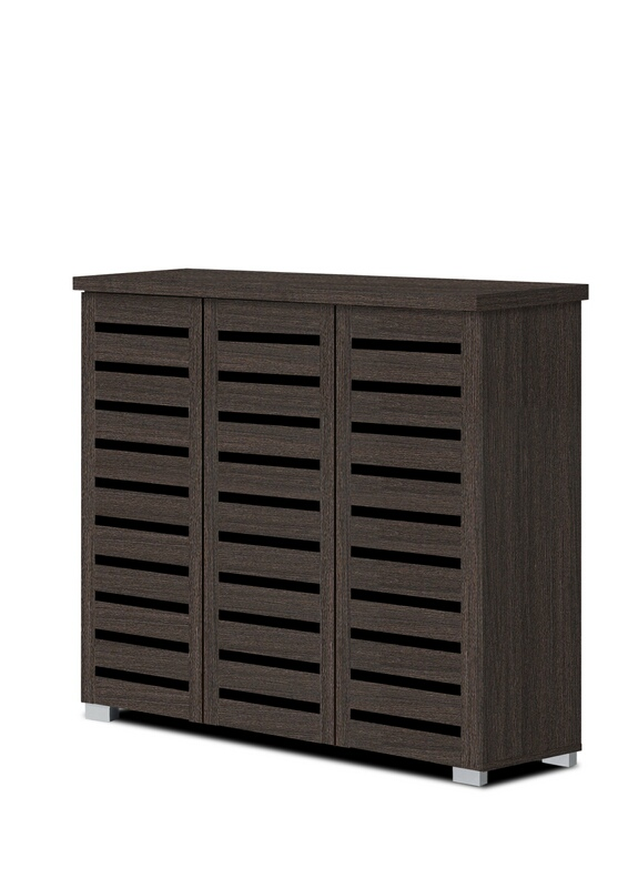 3343-ESP Espresso finish wood wide louvered design front panels wide shoe cabinet