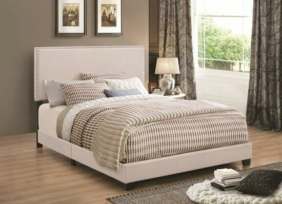 CST350051Q Muave II collection ivory fabric upholstery queen size bed set with nail head trim