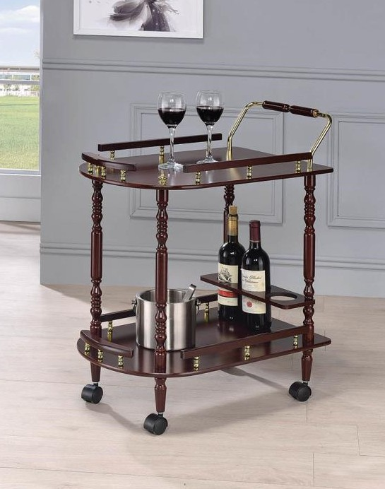 3512 Cherry finish wood tea serving trolley cart brass accents and casters
