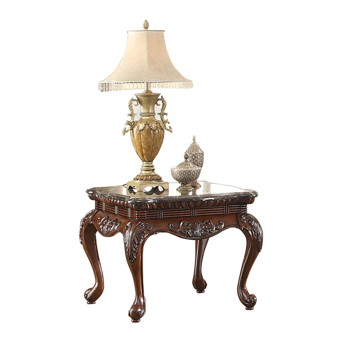 Homelegance HE-3526-04 Thibodaux marble top end table cherry finish wood trim