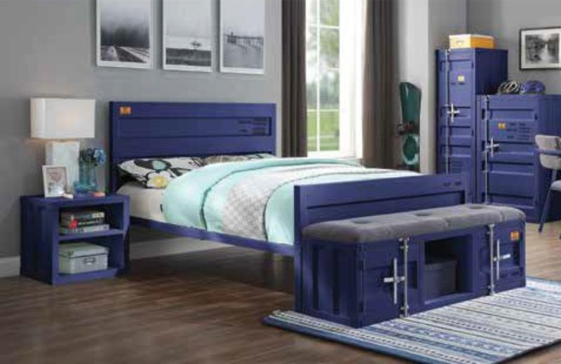 Acme 35930T-2PC 2 pc Transport cargo blue metal kids twin bed and nightstand set