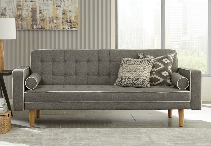 350405 Luske grey and white woven fabric sofa futon bed with tufted backs