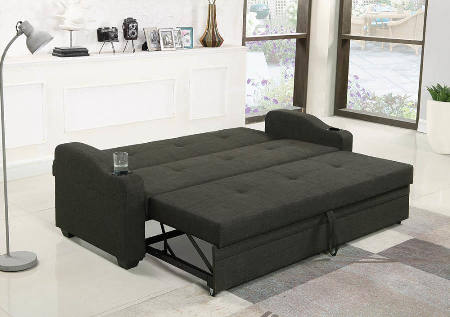 360063 Winston porter tarbell charcoal gray fabric folding sofa bed with tufted back