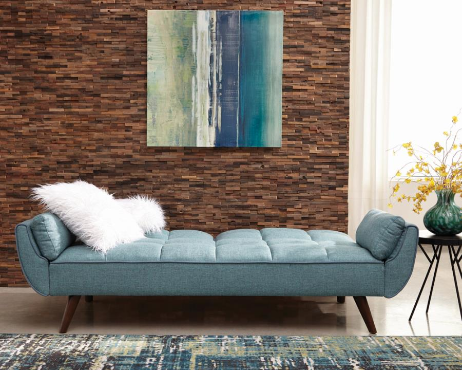 360097 Cheyenne turquoise blue woven fabric sofa futon bed with tufted backs