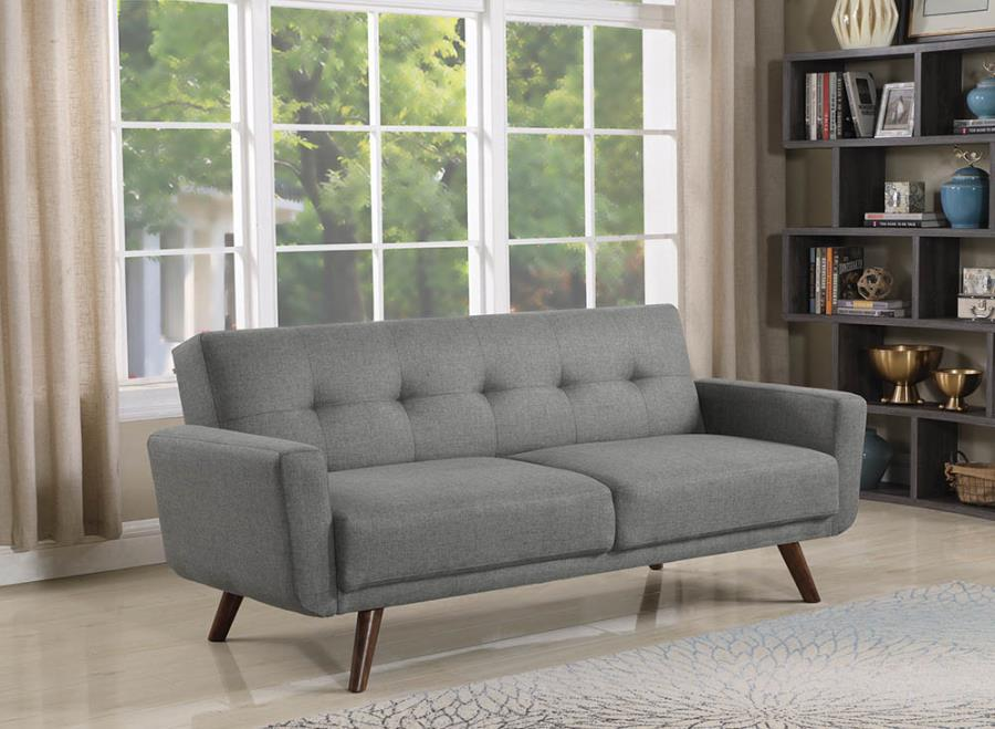 360139 George oliver fortson light grey woven fabric folding sofa / futon bed with tufted accents