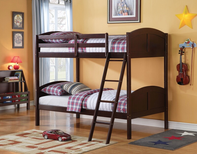 Acme 37010 Harriet bee oberon toshi espresso finish wood twin over twin bunk bed set