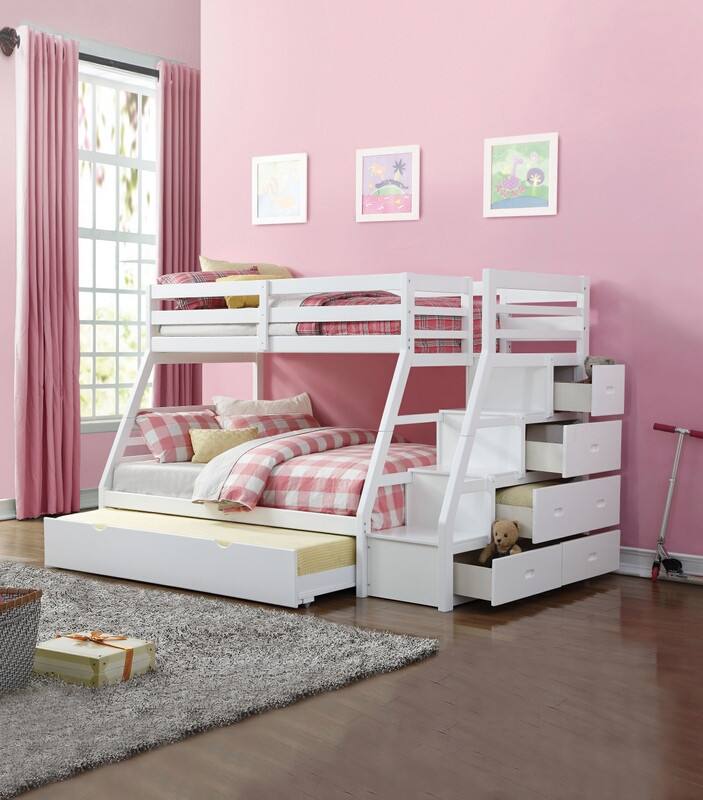 Acme 37105 Jason white finish wood twin over full bunk bed set stair case  drawers with trundle