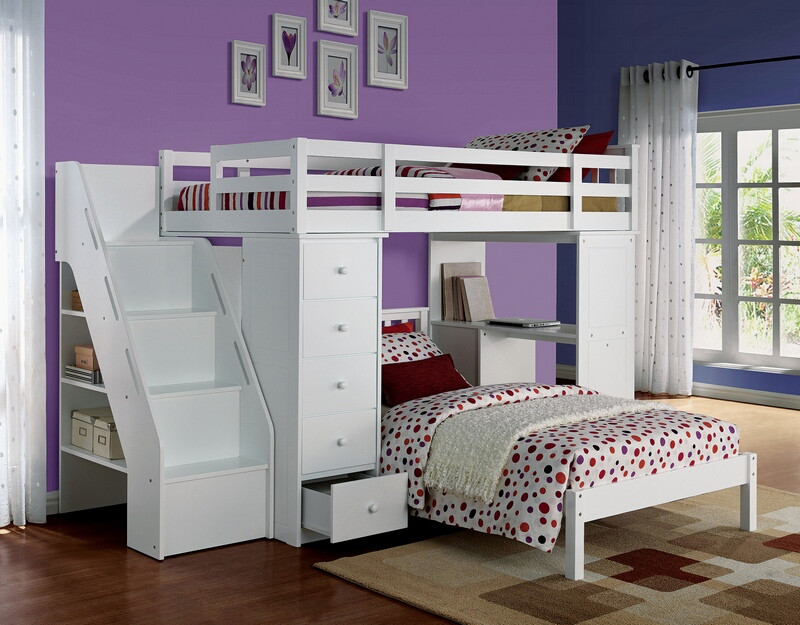 ACM37145-52 Freya collection white finish wood twin over twin loft bed with staircase and drawers