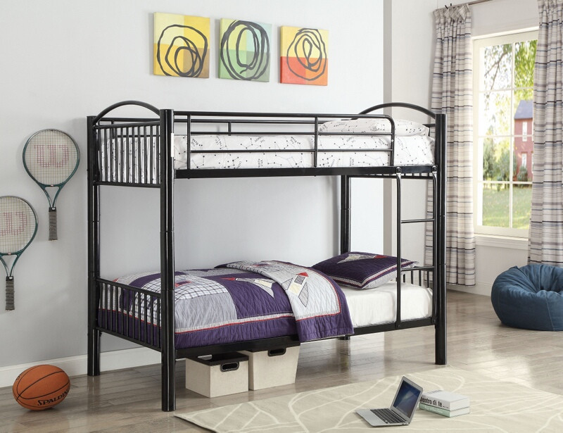 Acme 37385BK Harriet bee eder cayelyn black finish metal frame twin over twin bunk bed