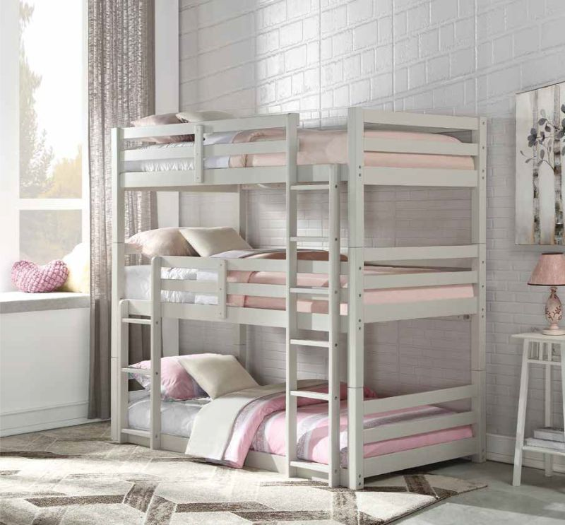 Acme 37420 Harriet bee henninger ronnie light gray finish wood triple twin bunk bed set