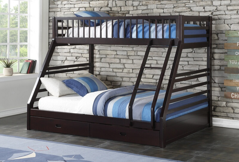 ACM37425 Jason II collection espresso finish wood twin over queen bunk bed set with 2 lower drawers