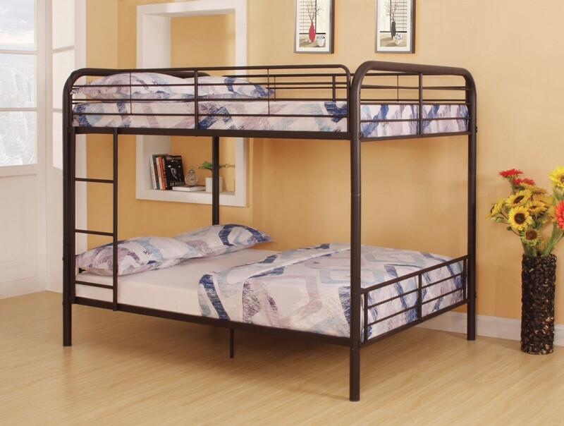 ACM37433 Bristol collection dark brown finish metal frame Full over full bunk bed set
