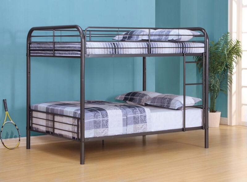 ACM37435 Bristol collection gunmetal finish metal frame full over full bunk bed set