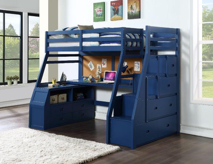 Acme 37455 Zoomie kids jeremiah jason II navy blue finish wood twin size loft bed desk drawers steps