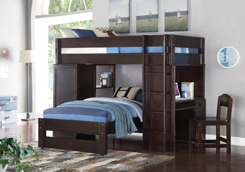 Acme 37495 Lars espresso finish wood loft bunk bed set desk drawers twin  bed set