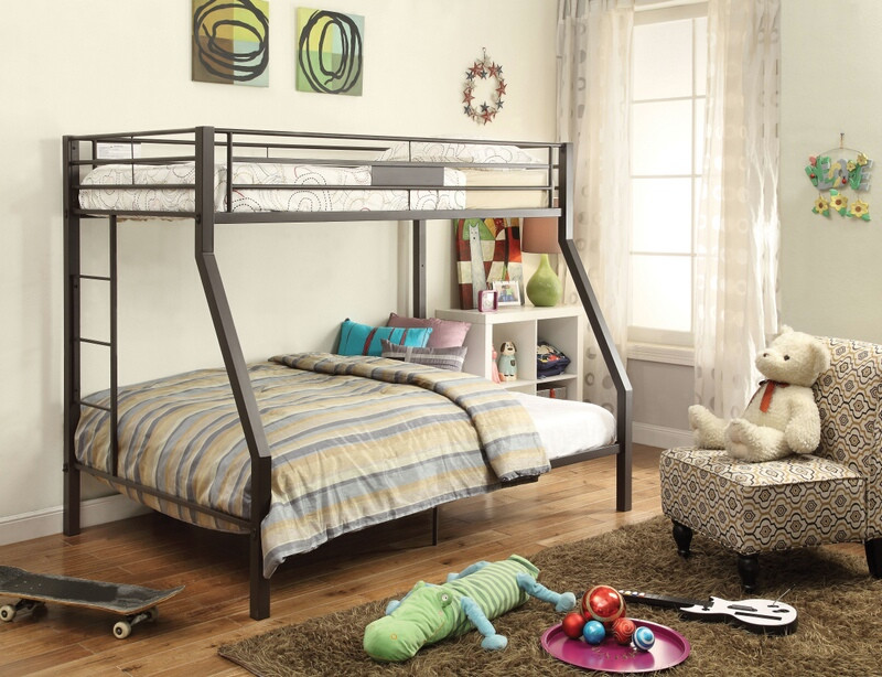 Acme 37510 Harriet bee donnan limbra sandy brown finish metal frame twin over full bunk bed