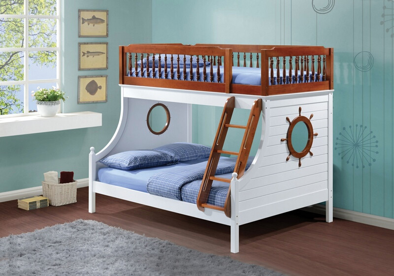 ACM37600 Farah collection oak and white finish wood twin over full nautical themed bunk bed set with turned poles guard rail