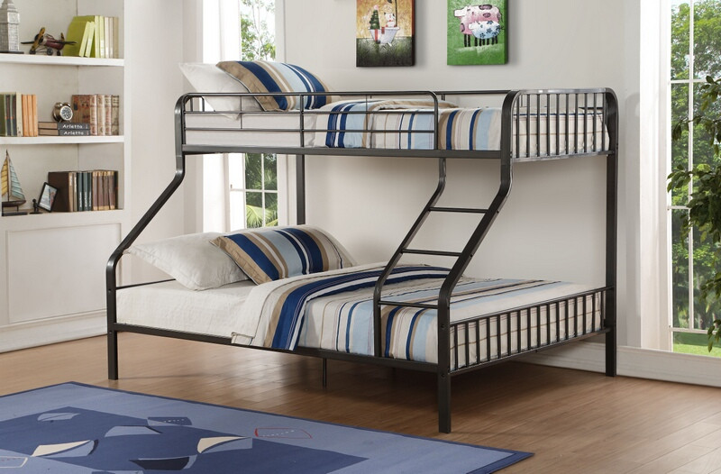 ACM37605 Caius collection gunmetal finish metal frame twin over queen bunk bed
