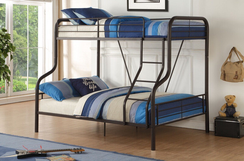 Acme 37610 Zoomie kids hiebert cairo sandy brown finish metal frame twin over full bunk bed