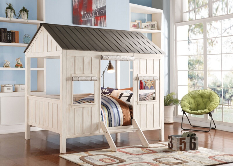 ACM37655F Spring cottage collection weathered white finish wood and washed grey full sized bed