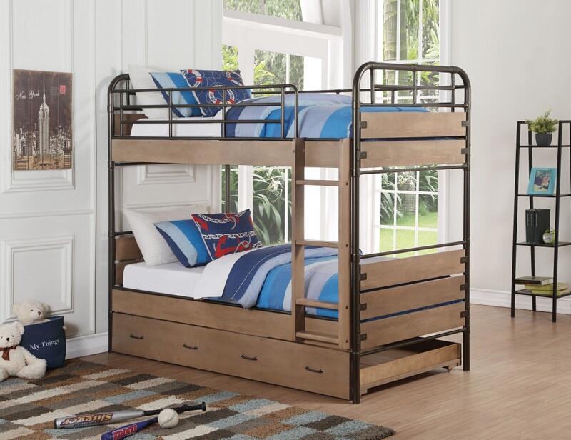 Adams antique oak finish wood gunmetal twin over twin bunk bed set