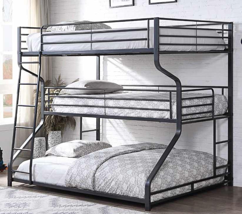 Acme 37795 Caius Ii Gunmetal Finish Metal Triple Bunk Bed Set Twin Full Queen