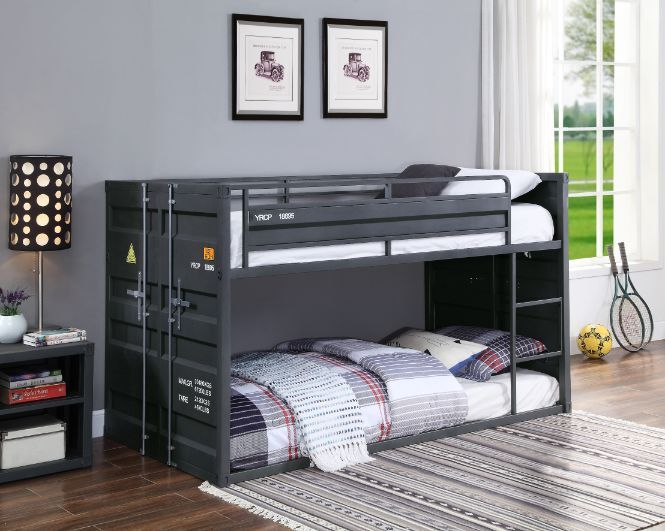 Acme 37815 Wildon home cargo container style twin over twin gunmetal grey finish metal bunk bed