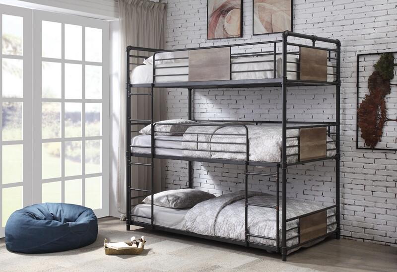 Acme 37820 Williston forge kemble brantley sandy black dark bronze triple twin bunk bed set